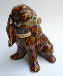 VINTAGE KERMANN BORDEAUX LIQUEUR CAZANOVE CERAMIC DOG DECANTER