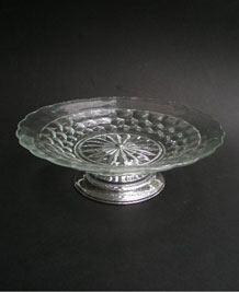 PRESSED GLASS PLATE ON CHROME STAND