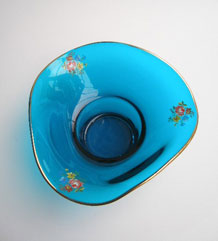 1950s TURQUOISE GLASS POSY BOWL