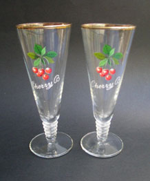 PAIR OF 1960s CHERRY B GLASSES WITH RIBBED STEM