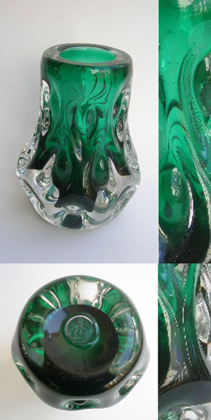 liskeard glass green and clear  u0026 39  knobbly  u0026 39  vase designed by jim dyer  1970s