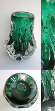 "LISKEARD GLASS GREEN AND CLEAR "" KNOBBLY "" VASE DESIGNED BY JIM DYER (1970s)"