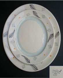 BURLEIGH WARE OVAL SERVING PLATES 'FEATHER PATTERNS'  MID CENTURY MODERNIST
