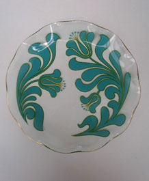1971 CHANCE GLASS TURQUOISE CANTERBURY PATTERN FLUTED ROUND PLATE