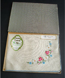 VINTAGE BOXED PURE LINEN EMBROIDERED TRAY CLOTH BY IRISH CABIN