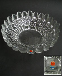 1970s PERTTI SANTALAHTI FOR KUMELA FINLAND TEXTURED GLASS BOWL WITH ORIGINAL LABEL