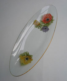 1960s 'CHANCE GLASS' LONGBOAT DISH WITH 'ANEMONE' PATTERN BY MICHAEL HARRIS