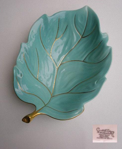 Vintage Carlton Ware Turquoise Hand Painted Leaf Dish