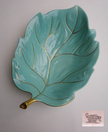 VINTAGE CARLTON WARE TURQUOISE HAND-PAINTED LEAF DISH 1950s