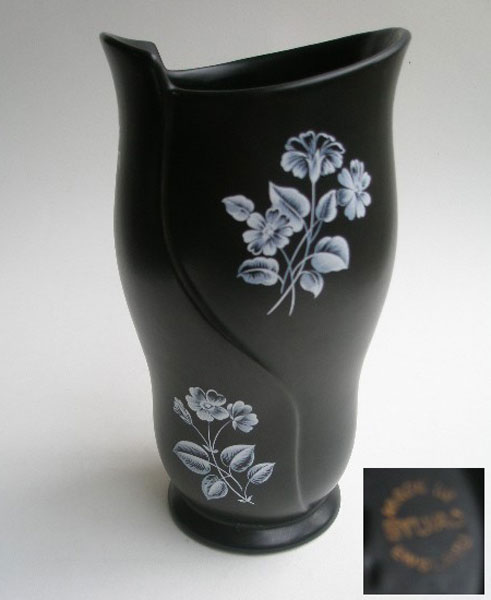 1950s Black Sylvac Vase With White Floral Design A Pretty Penny