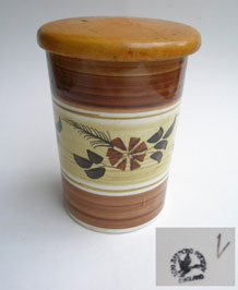 1960s TONI RAYMOND POTTERY HAND- PAINTED STORAGE POT