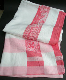 1930s DAMASK ORIENTAL TABLECLOTH WITH ROSE PINK BORDER
