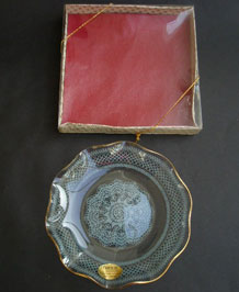 CHANCE GLASS BOXED FLUTED PLATE IN LACE DESIGN