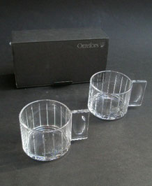 ORREFORS CLEAR CUT STRIPE GLASS HOTTO MUGS DESIGNED BY LENA BERGSTROM