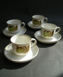 FOUR DENBY TROUBADOUR CUPS AND SAUCERS