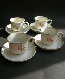 FOUR DENBY GYPSY CUPS AND SAUCERS