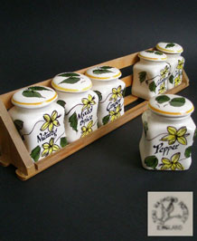 1960s TONI RAYMOND HANDPAINTED HERB JARS IN WOODEN RACK