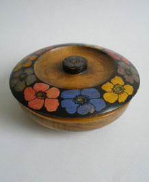 1920s WOODEN HANDPAINTED POWDER BOWL
