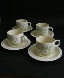 HORNSEA FLEUR CUPS AND SAUCERS DESIGNED BY SARA VARDY