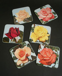 METAL CORK-BACKED ROSE COASTERS x6