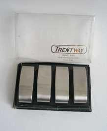 1960's TRENTWAY STAINLESS STEEL NAPKIN RINGS IN ORIGINAL BOX