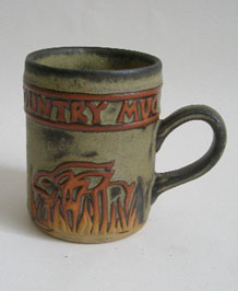 1960s TREMAR STUDIO POTTERY COUNTRY MUG WITH RAISED RABBIT  DESIGN