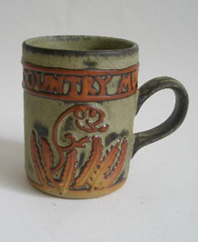 1960s TREMAR STUDIO POTTERY COUNTRY MUG WITH RAISED FIELD MOUSE  DESIGN