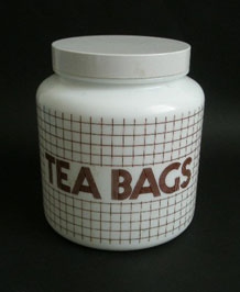 VINTAGE LARGE GLASS TEA BAGS STORAGE JAR