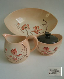 1950s CARLTON WARE PINK MAGNOLIA STRAWBERRY SET