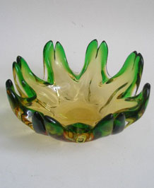 JOSEF HOSPODKA GREEN BOHEMIAN ART GLASS BOWL / DISH