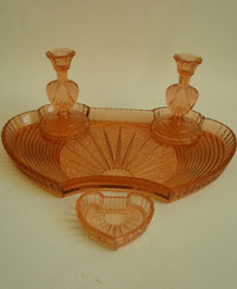 PINK GLASS DECO DRESSING TABLE SET