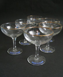 SET OF SIX 1950s WHITE FAWN BABYCHAM GLASSES WITH HEXAGONAL STEM