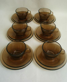1960s PYREX GLASS CUPS SAUCERS AND PLATES