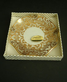 1960S CHANCE GLASS SMALL DISH IN ORIGINAL BOX