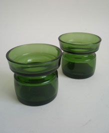 1970s DANSK GREEN GLASS CANDLEHOLDERS DESIGNED BY JENS QUISTGAARD
