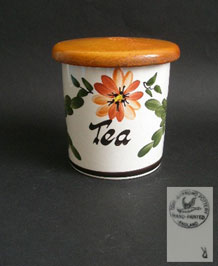 1960s TONI RAYMOND HANPAINTED TEA STORAGE JAR