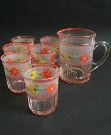 VINTAGE HANDPAINTED GLASS LEMONADE SET