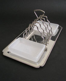 VINTAGE SMOKED GLASS  JAM POT IN WYNCRAFT TOAST RACK