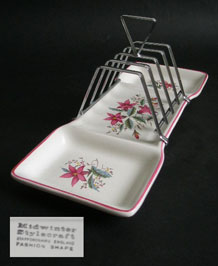 1960s MIDWINTER SPRINGFIELD TOAST RACK AND PRESERVE DISH