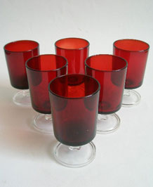 SET OF SIX  FRENCH RUBY RED WINE GLASSES