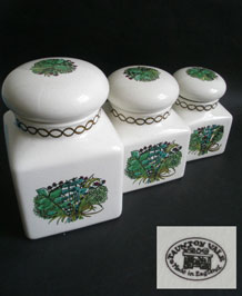 1970s  SET OF THREE TAUNTON  VALE  STORAGE  JARS IN HERB DESIGN