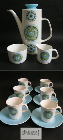 J&G MEAKIN COFFEE SET IN AZTEC DESIGN BY ALAN ROGERS (1966) ON THE STUDIO SHAPE