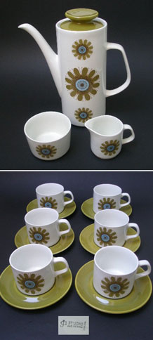 J & G MEAKIN GALAXY COFFEE SET DESIGNED BY JESSIE TAIT 1971 ON THE STUDIO SHAPE
