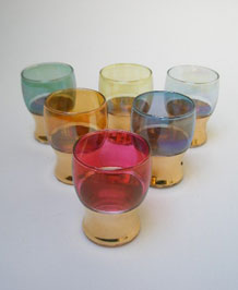 SIX 1950s SMALL COLOURED GLASSES