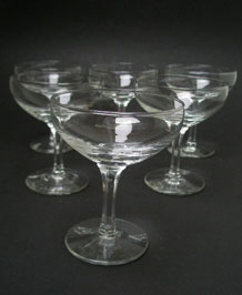 SIX  CHAMPAGNE SAUCERS / COCKTAIL GLASSES WITH HEXAGONAL STEM