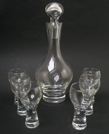 CAITHNESS CANISBAY DECANTER AND SIX GOBLETS DESIGNED BY COLIN TERRIS