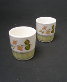 PAIR OF PALISSY EGG CUPS