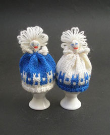 PAIR OF HAND-KNITTED LADY EGG COSIES