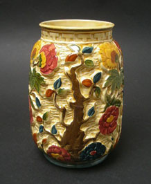 H. J. WOOD HAND-PAINTED INDIAN TREE VASE