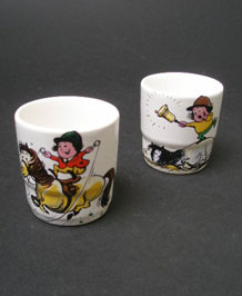 PAIR OF PALISSY THELWELL PONIES EGG CUPS